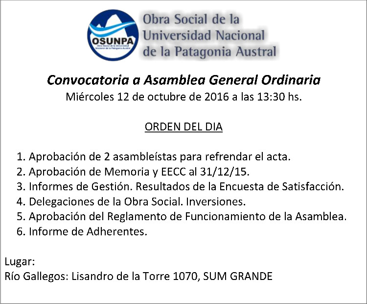 OSUNPA Convocatoria a Asamblea General Ordinaria